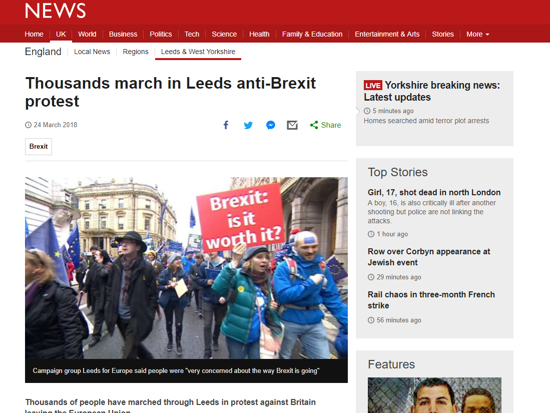 BBC UK news editor defends lack of coverage of anti-Brexit marches against claims of 'deliberate blackout'