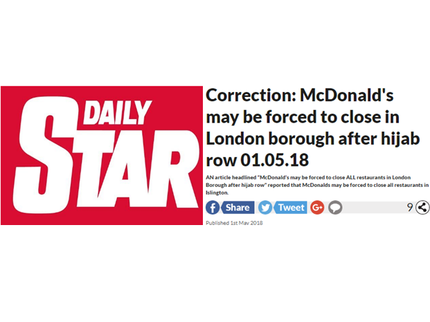 IPSO rules content of Daily Star 'hijab row' article did not match headline claims