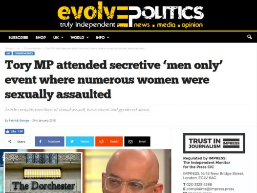 Evolve Politics told to pay £900 in damages by Impress arbitrator after defaming broadcaster in follow-up report on Presidents Club dinner