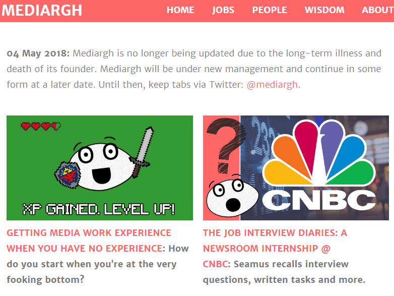 Founder of popular media careers advice site Mediargh dies aged 31