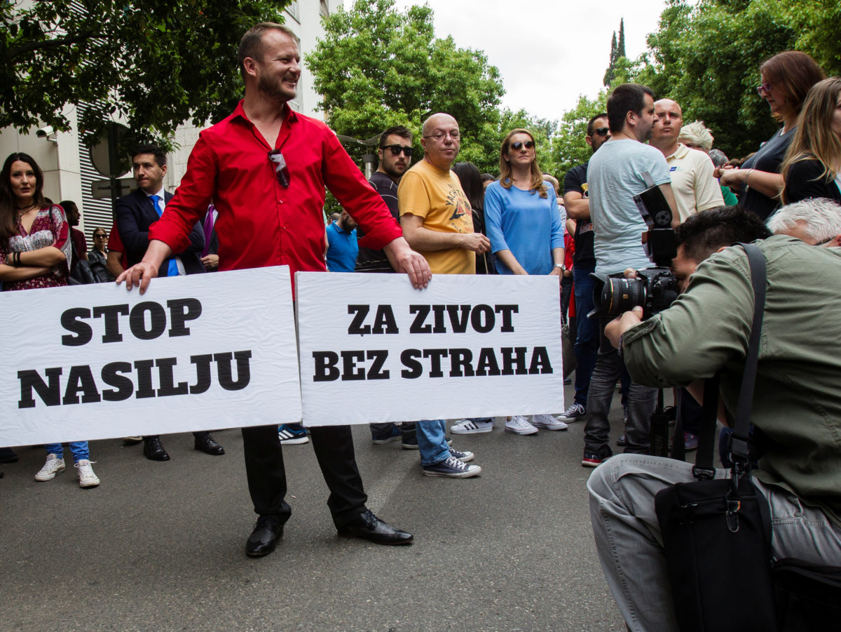 Hundreds protest spate of attacks on journalists in Montenegro after reporter shot in leg in latest incident