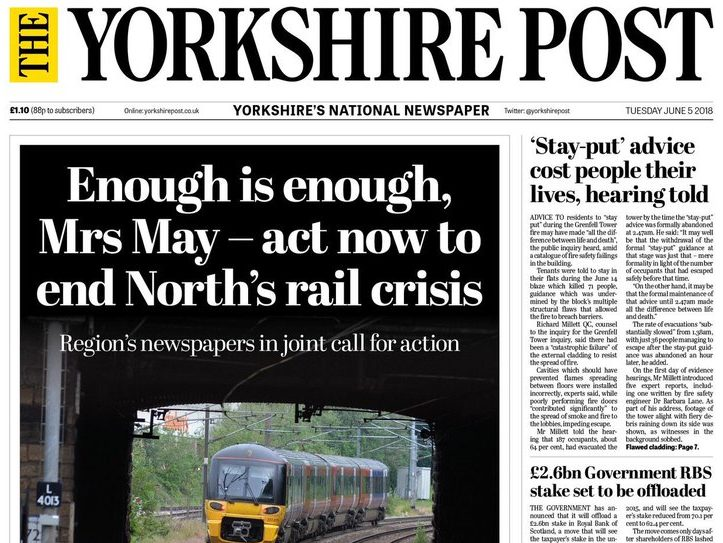 Yorkshire Post editor: 'Perfect storm of frustration' behind northern newspapers' team-up over rail crisis as journalists 'weren't being listened to'