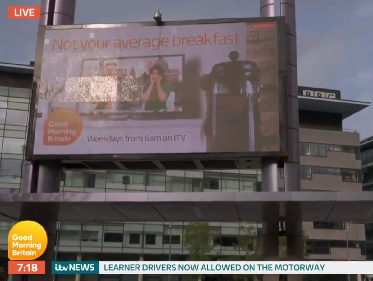 Good Morning Britain runs cheeky promo on big screen right outside rival BBC Breakfast's studios in Manchester