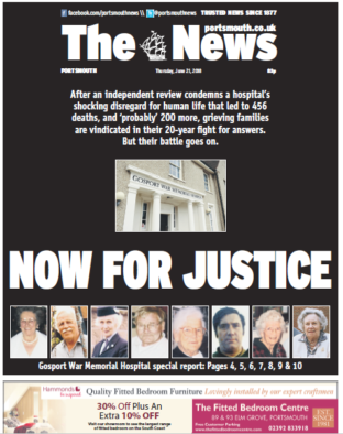 Portsmouth daily The News praised by panel for coverage of Gosport hospital deaths scandal and championing families