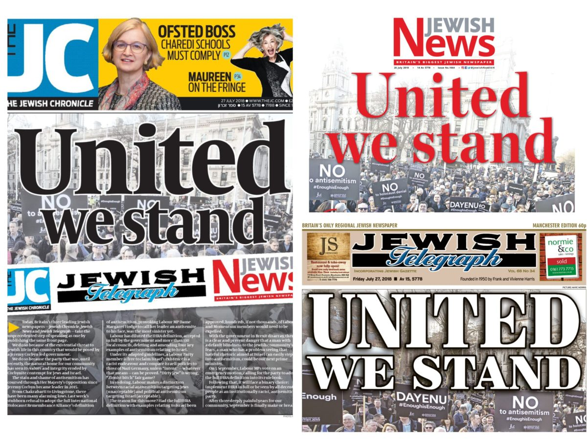 Rival Jewish newspapers unite in 'unprecedented' front page collaboration claiming Labour Party under Corbyn poses 'threat to Jewish life'