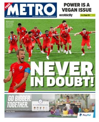 National newspaper front pages celebrate England's World Cup