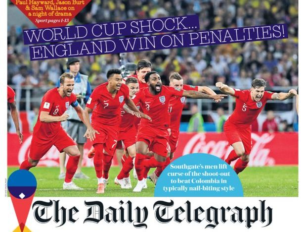 National newspaper front pages celebrate England's World Cup win against Colombia on penalties