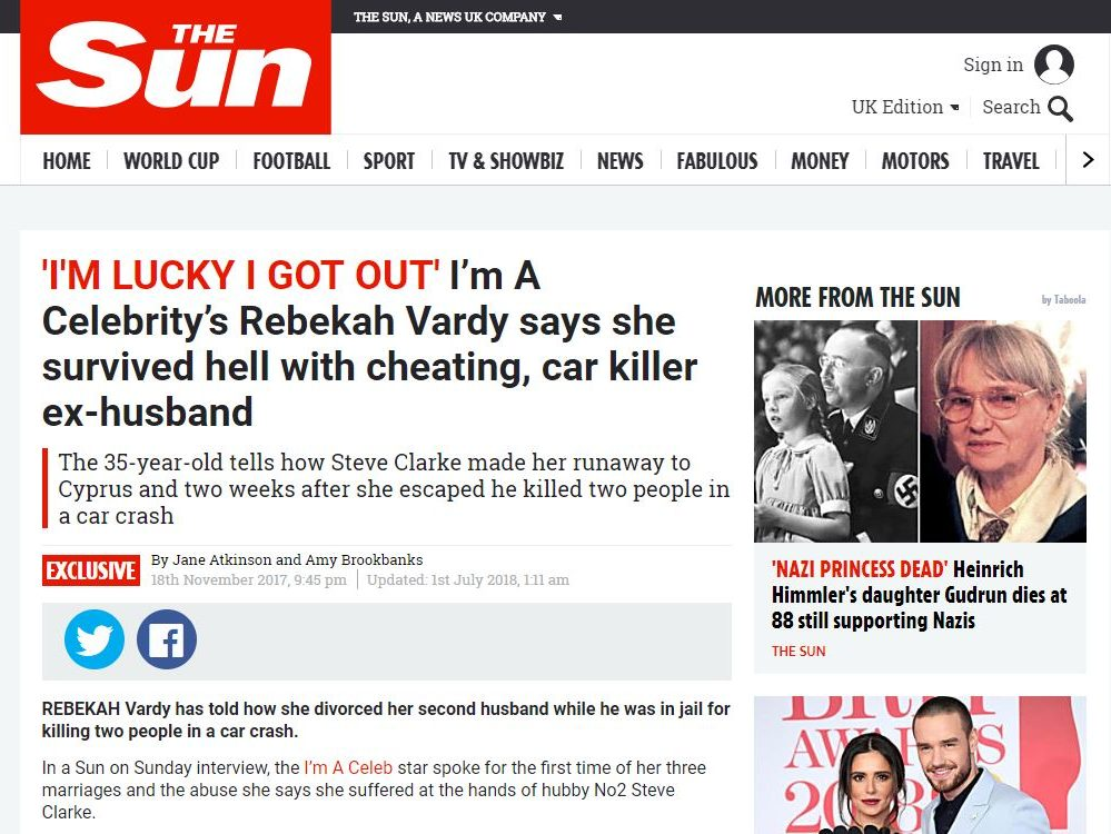Sun on Sunday failure to include Rebekah Vardy's ex-husband's denial of her claim he made her sell kiss-and-tell story to newspaper was breach of code, rules IPSO