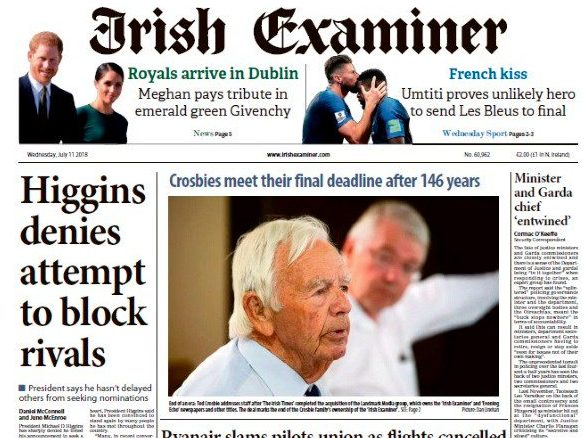 Irish Times completes buyout of rival daily the Irish Examiner with promise to retain title's 'core identity and independence'