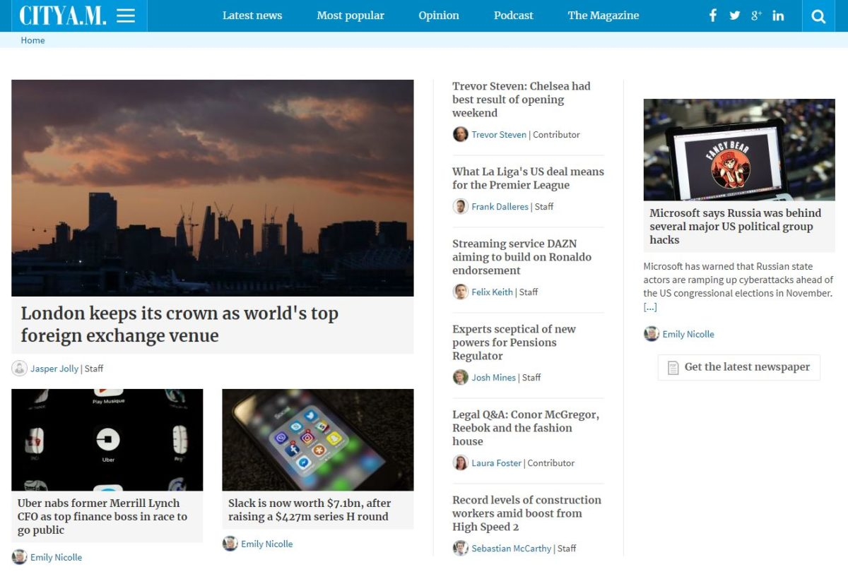 City AM website back online after week-long outage but 'several months' of recent news content still missing