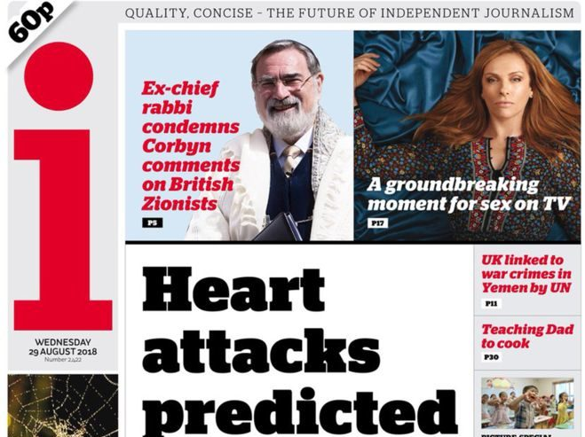 The i newspaper made £6m in first half of 2018 helping offset revenue decline across publisher Johnston Press
