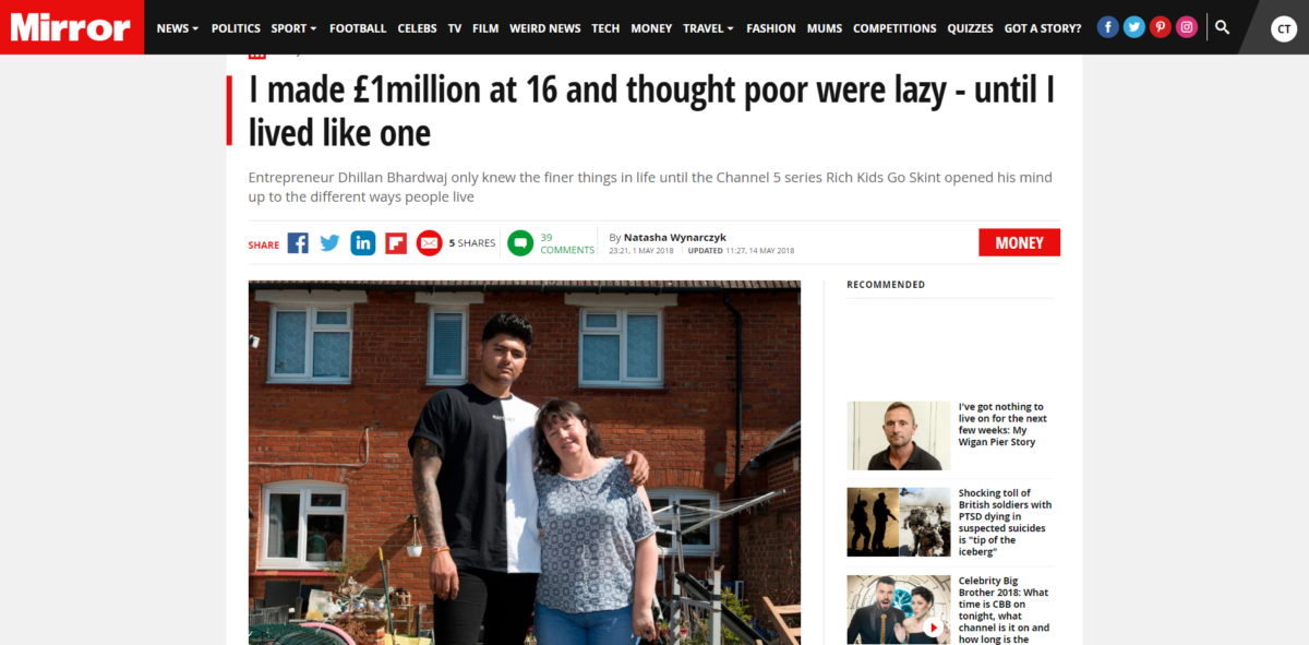 Young millionaire wins IPSO complaint over Mirror report wrongly claiming he called people on benefits 'scroungers'
