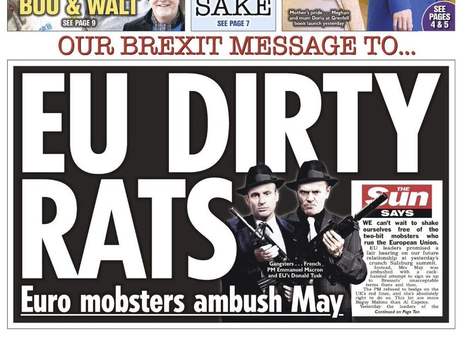 Sun hits back after European Justice Commissioner criticises its 'EU dirty rats' front page and Daily Mail's 'Enemies of the people' splash