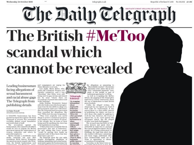 Telegraph 'gagged' by injunction granted to 'leading' British businessman facing sexual harassment allegations from staff