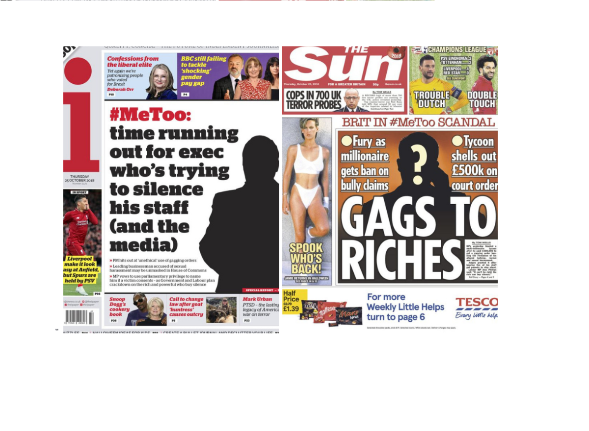 The Sun and the i come down on gagging laws with front page follow-ups to Telegraph's 'gagged' #MeToo scandal scoop