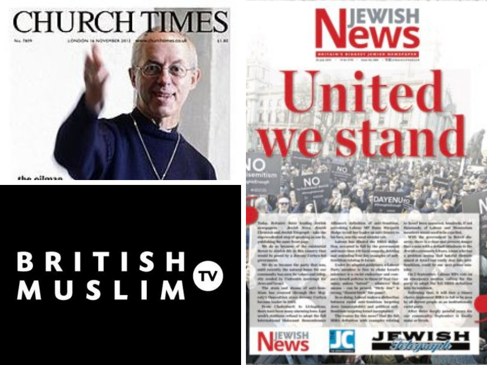 Jewish News, Church Times and British Muslim TV collaborate on interfaith list of young leaders in 'world first' for religious media