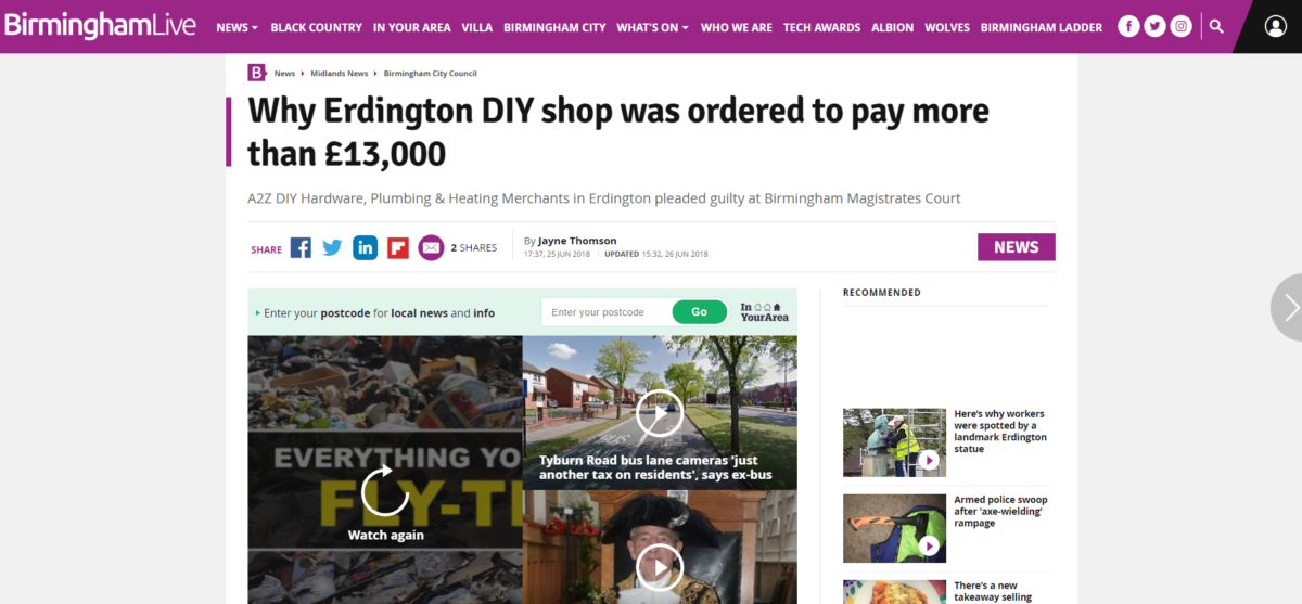 Birmingham Live breached accuracy rules with story about 'fly-tipping' conviction based on council's tweets, IPSO rules
