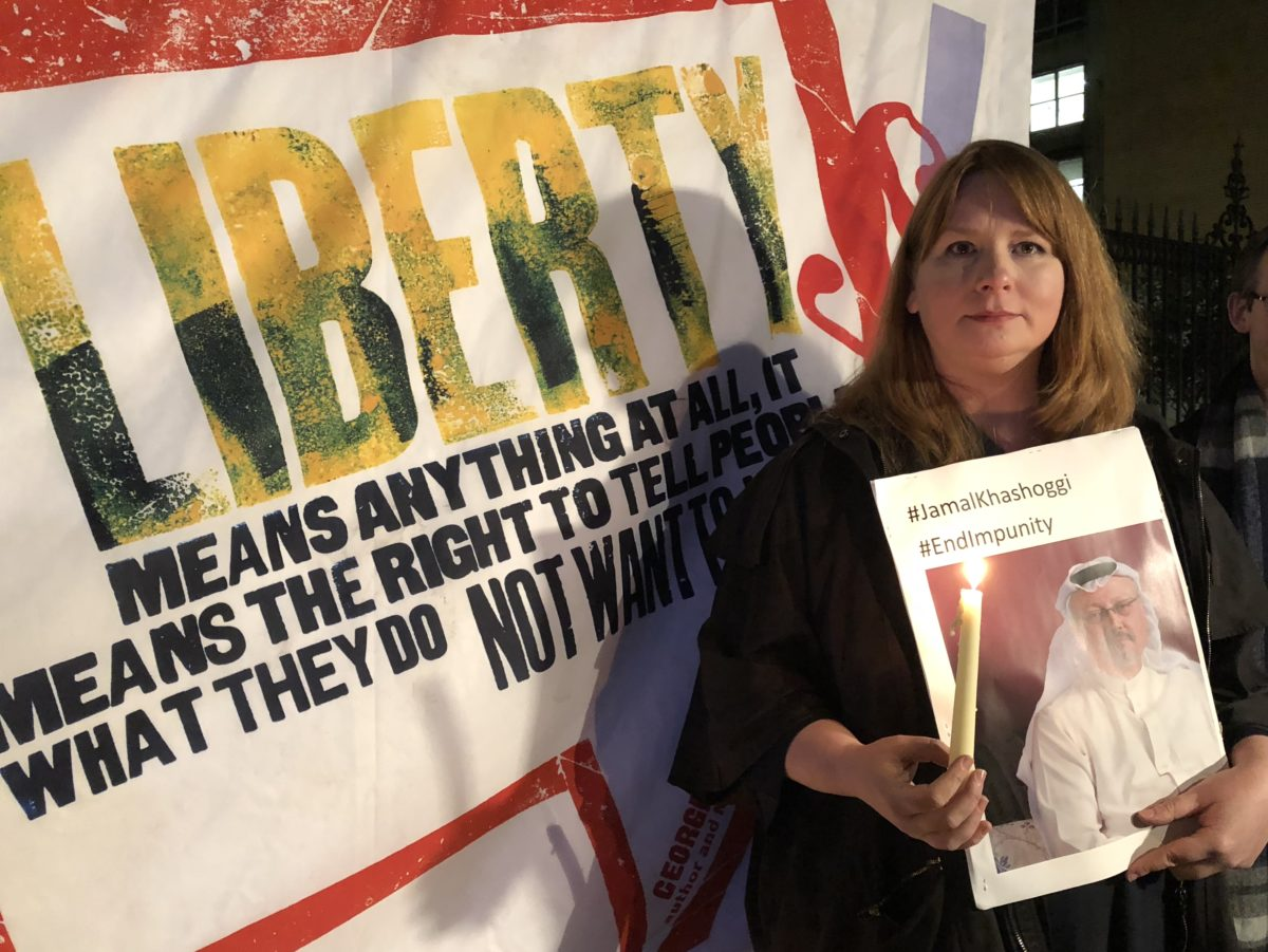 NUJ holds silent vigils for murdered journalist Jamal Khashoggi outside Saudi embassies in London and Dublin