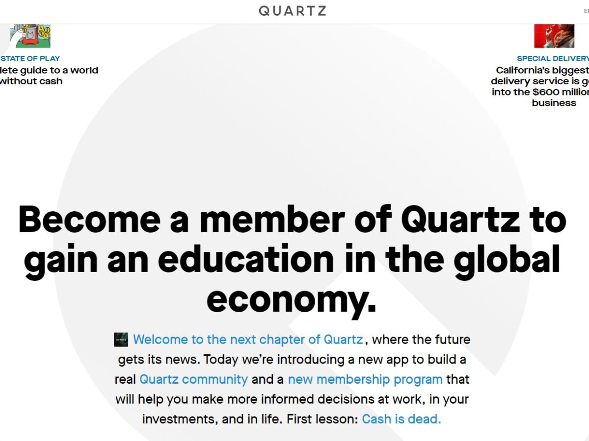 Quartz puts up partial paywall and gives members chance to quiz journalists and submit questions for interviews