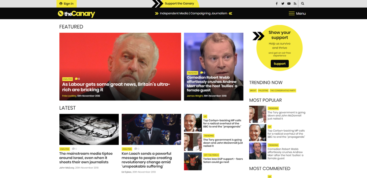 Left-wing website The Canary most complained about Impress-regulated publication of 2017/18