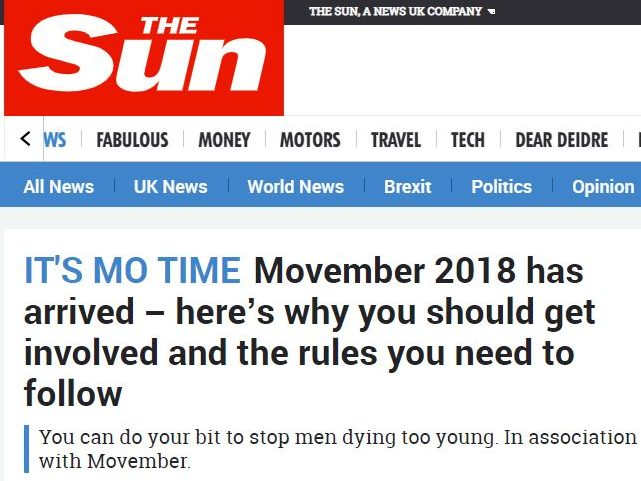 The Sun to give one penny from every paper sold on Monday in aid of Movember