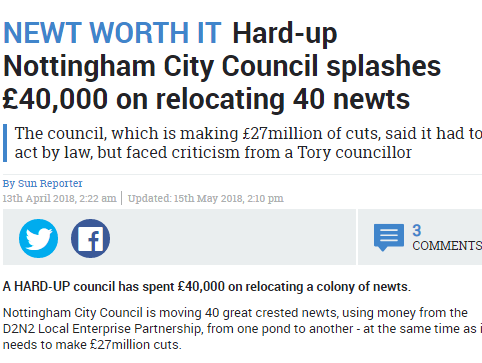 Sun story criticising Nottingham City Council for spending £40,000 on moving newts did not breach Editors' Code, IPSO rules