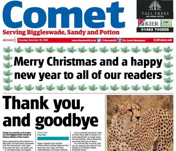 Archant closes edition of free weekly newspaper less than three years after relaunch as it 'no longer makes financial sense'