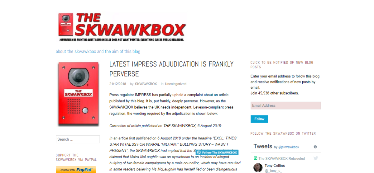 Skwawkbox slams 'frankly perverse' Impress ruling after being found in breach of accuracy code