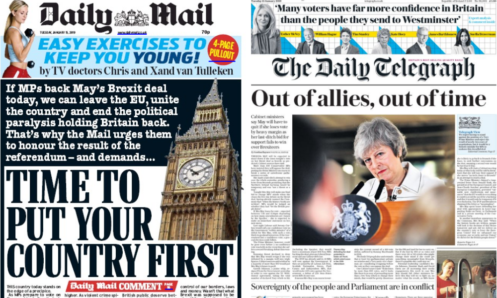 Pro-Brexit newspapers split over May's EU withdrawal deal ahead of tonight's vote