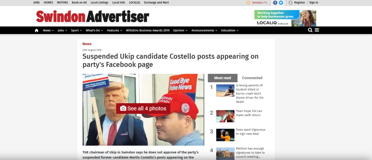 Swindon Advertiser rapped by IPSO after reporter 'misunderstood how Facebook comments worked' in story about suspended Ukip candidate