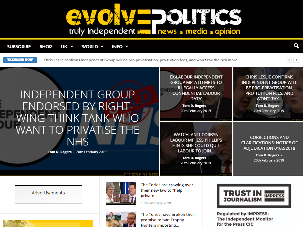 Evolve Politics rapped by Impress over inaccuracy in story alleging misconduct by Tory MP