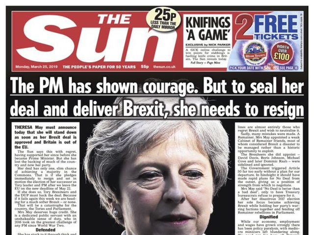 Sun pulls support for Theresa May and 'with regret' uses splash to urge PM to step down