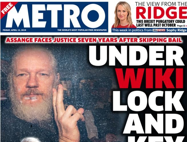 Corbyn calls on Govt to oppose US extradition of Assange as Wikileaks founder's arrest makes UK front pages