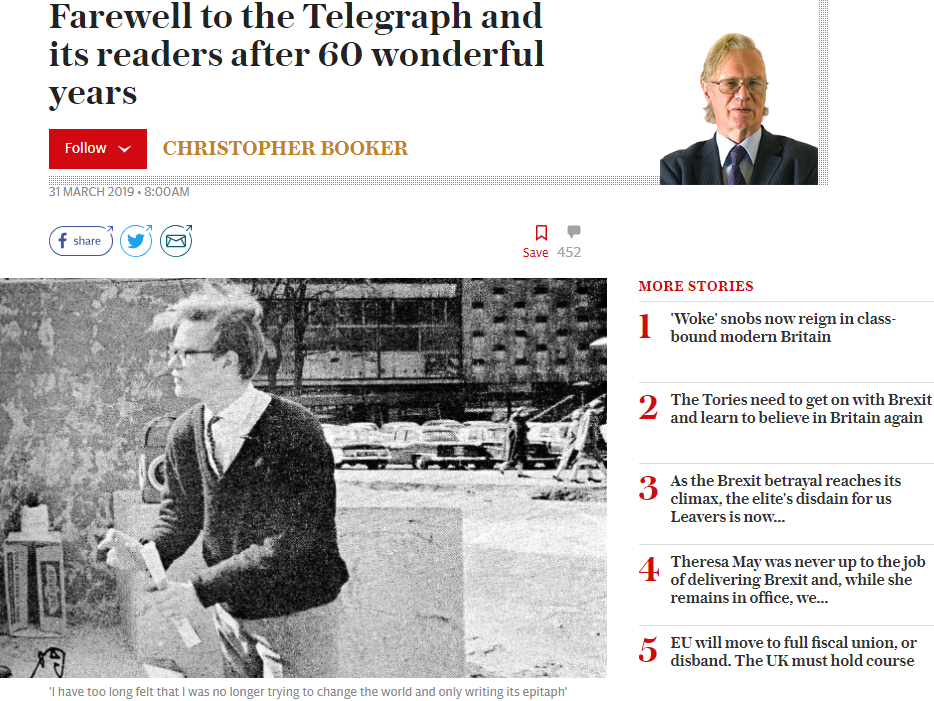 'Titan of Fleet Street' Christopher Booker leaves Telegraph after six decades