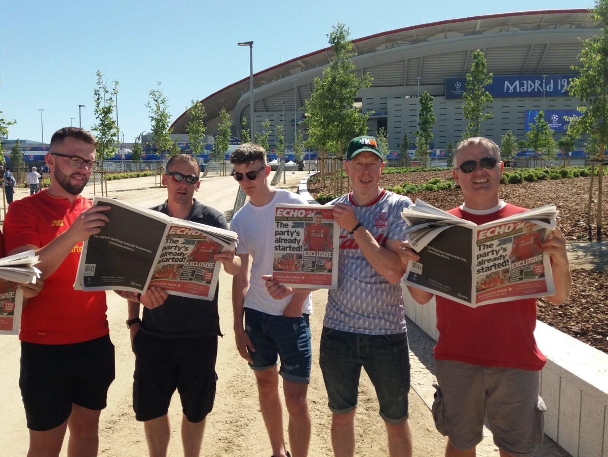Liverpool Echo prints souvenir editions for fans in Madrid for Champions League final
