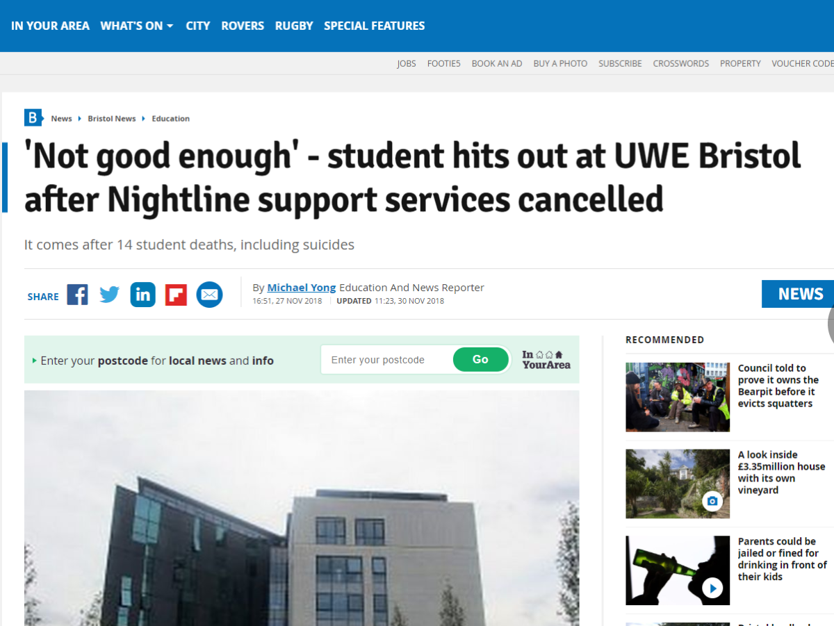 Bristol Post journalist who accessed university portal for story on suicide rates acted in public interest, IPSO rules