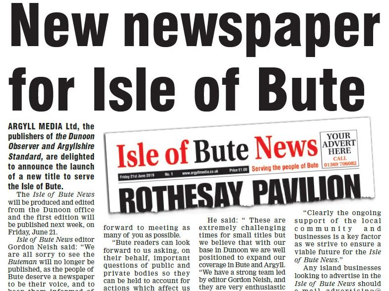 New weekly for Isle of Bute to launch on same day 165-year-old Buteman prints is last