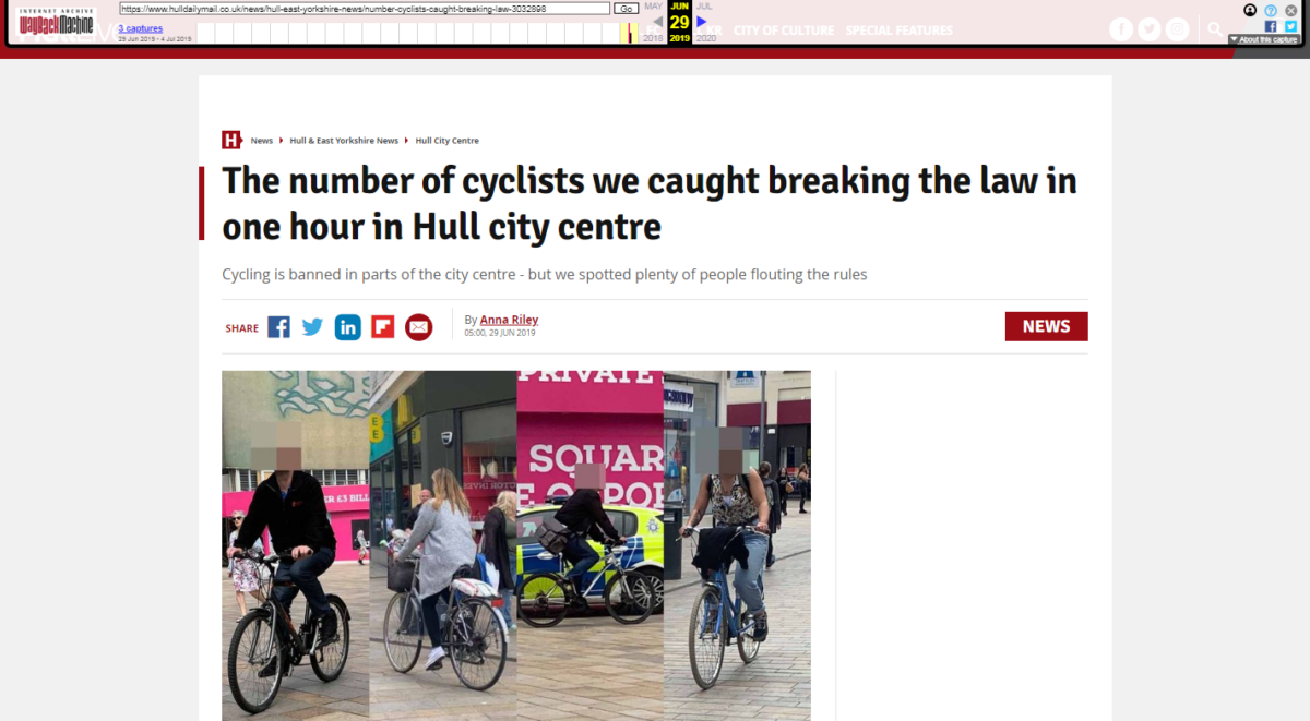 Hull Daily Mail takes down front page cycling story after wrongly accusing bikers of flouting city centre ban