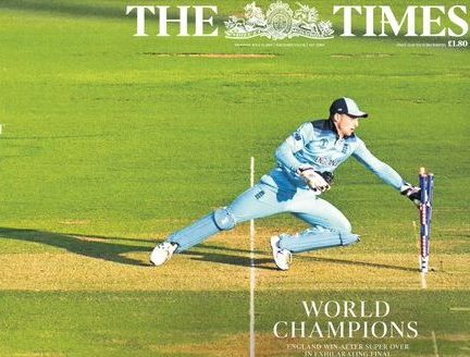 Cricket World Cup picture wrap helps boost Times sales as BBC marks record online figures