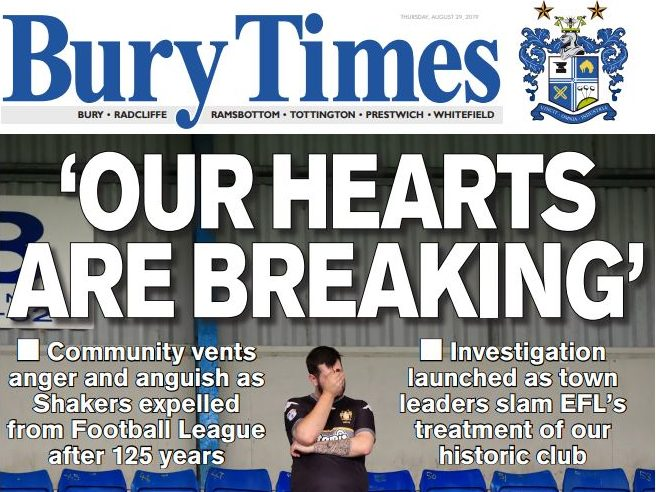 Bury weekly turns blue in solidarity with football club after expulsion from league