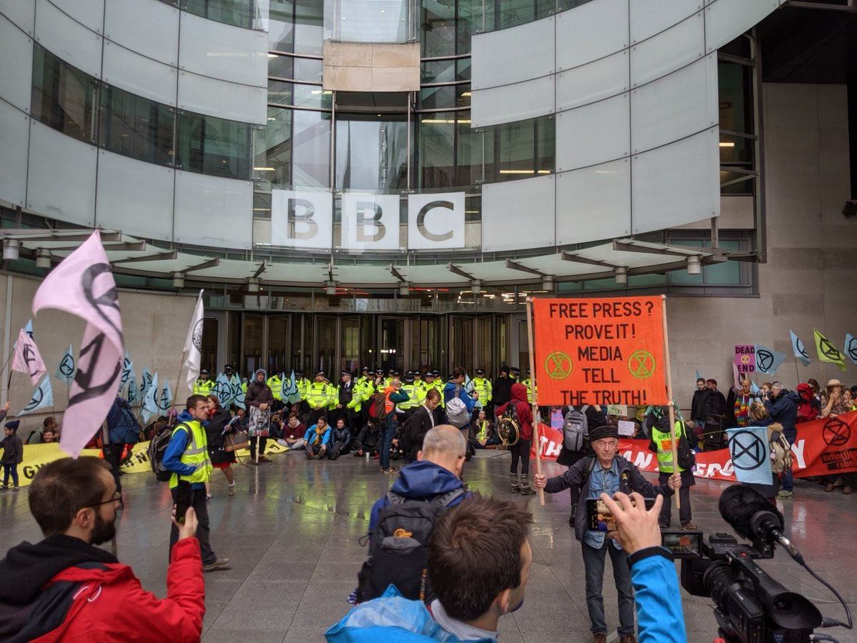 Extinction Rebellion climate protestors blockade BBC Broadcasting House