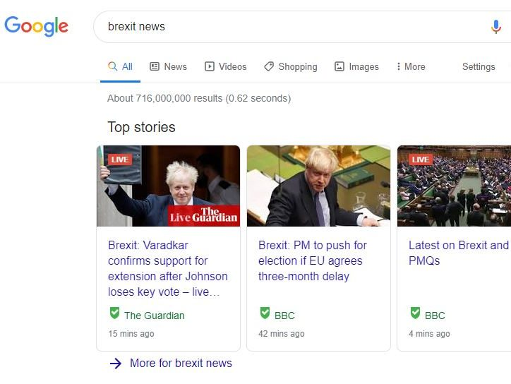 BBC and Guardian most visible in Brexit-related Google searches, study shows