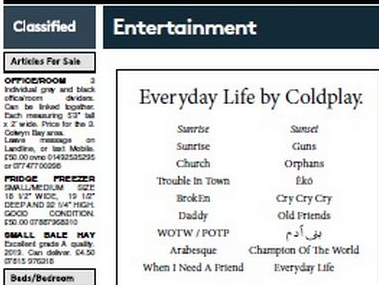 Coldplay reveal new album tracklist in Welsh daily's classified section