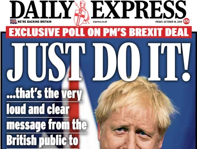 Sun, Mail, Express and Times urge MPs to 'just do it' and back Boris Johnson's new Brexit deal