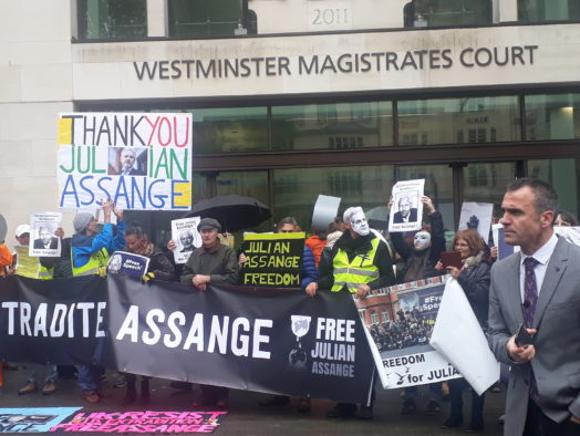 Reporters barred entry to Julian Assange court hearing as supporters fill room