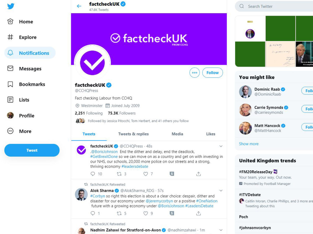 Twitter warns against 'attempts to mislead' as Conservatives criticised for 'fact-check' rebrand