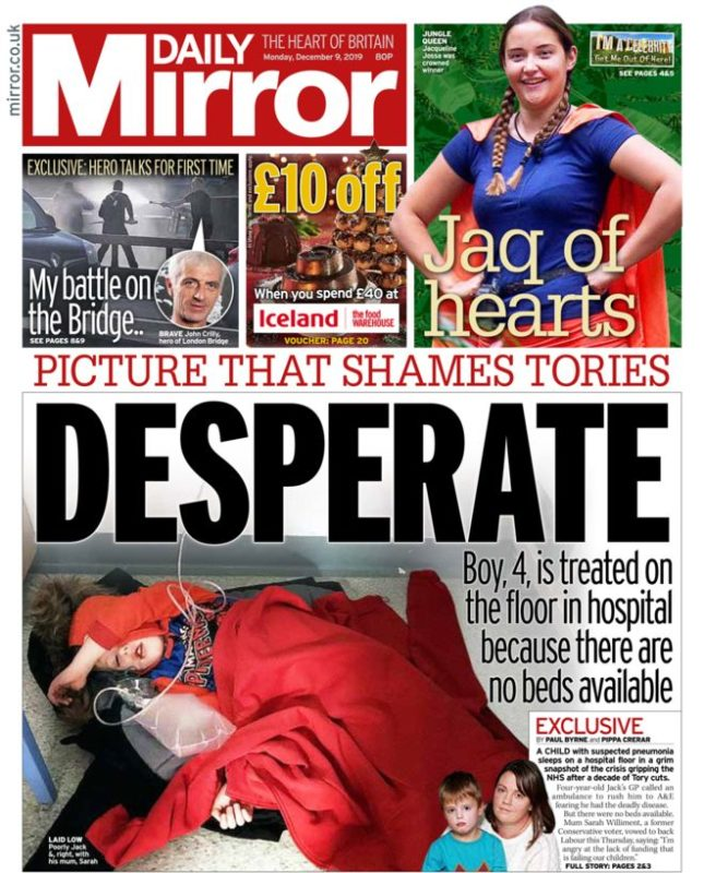 Image result for Jack hospital floor leeds Daily mirror front page