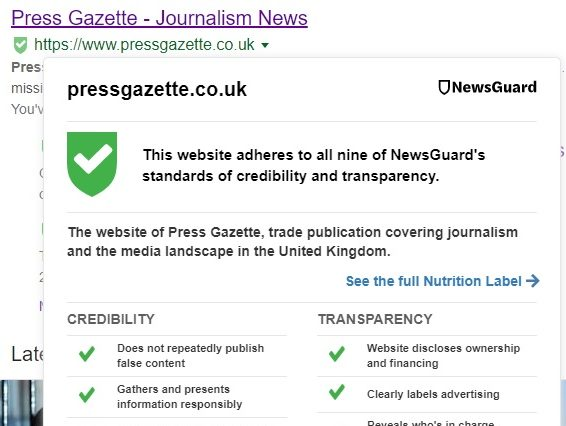 News website rating tool Newsguard to start charging for service