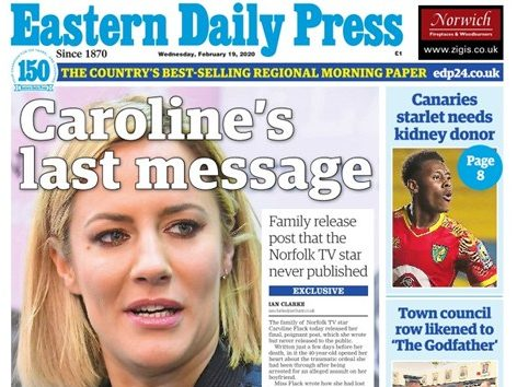 Caroline Flack's family choose local paper to share TV star's message written days before death