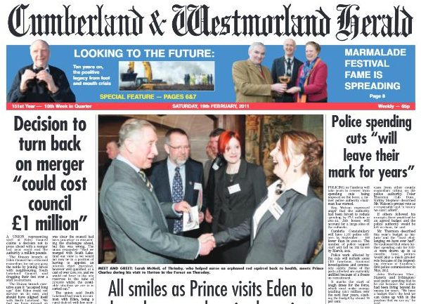 160-year-old Cumberland and Westmorland Herald goes into administration with six jobs lost